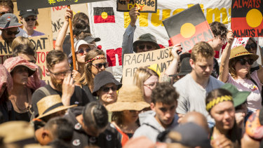 Speakers at the Invasion Day rally took aim at the government over issues affecting Indigenous communities.