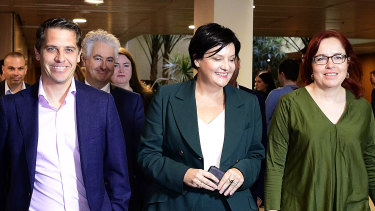 Jodi McKay, flanked by her supporters, entering a Caucus meeting last month.