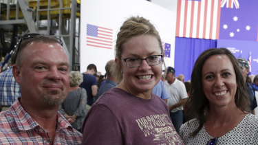 """""""I'm 52 years old and the growth of the economy is the best I've ever seen, so I'm real happy,"""" says Mike Schaub, pictured with Judy Schaub and Ashley Doty."""