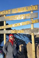 Louise Di Francesco climbing Mount Kilimanjaro.