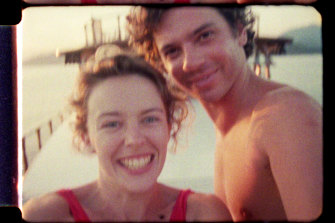 A frame of home movie footage of Michael Hutchence and Kylie Minogue as seen in Mystify.