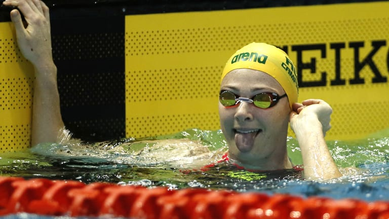 Cate Campbell after winning the women's 50m freestyle final during the Pan Pacific swimming championships in Tokyo.