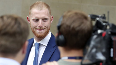 England cricketer Ben Stokes leaves Bristol Crown Court.