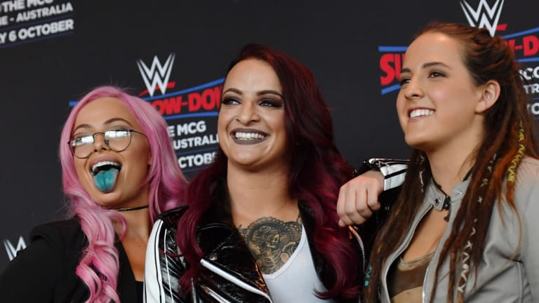 The Riott Squad, in town for a WWE show at the MCG.