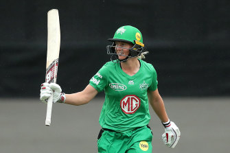 Meg Lanning of the Stars celebrates after scoring a half century during the Women's Big Bash League match between the Melbourne Renegades and the Melbourne Stars at Hurstville Oval in Sydney on Sunday.