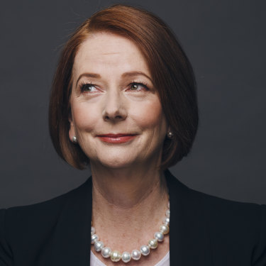 "Julia Gillard today. ""I am eternally grateful for the fact that it's different – it's really rich and varied, what I do now."""