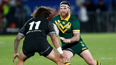 Rivalry: Josh McGuire's Kangaroos will face off against New Zealand again in Wollongong on October 25.