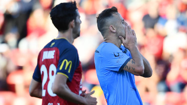 Deyvison Da Silva of Sydney FC reacts to a missed shot at goal against Adelaide at Coopers Stadium.