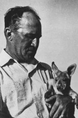 The chief driller at Exmouth Gulf, Mr. A. C. Dysart with a joey.