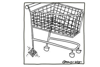 Matt Golding cartoon on supermarket QR codes.