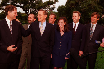 Premier Bob Carr with his cabinet on April 3, 1995.