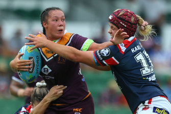 Jayme Fressard in action for the Broncos at the Nines in Perth earlier this year.