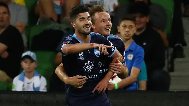 On song: Paulo Retre scores for Sydney FC.