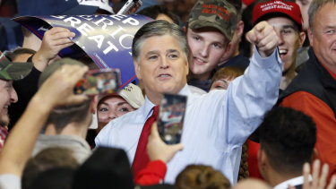 Sean Hannity received a hero's welcome from the crowd at Trump's rally.