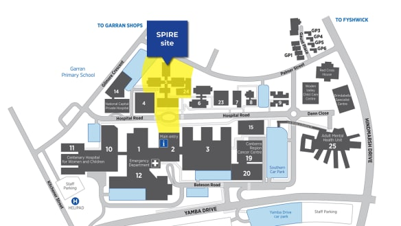 The location of the government's new hospital building (in yellow), to be known as the SPIRE centre, on the Woden hospital campus.