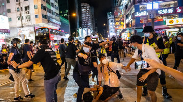 Undercover police arrested attendees during a memorial vigil in Mongkok on June 4, 2020 in Hong Kong.