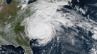 Hurricane Florence on the eastern coast of the United States.