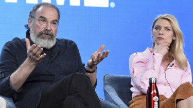 Mandy Patinkin, left, and Claire Danes on the Homeland panel at the 2020 Television Critics Association Press Tour in mid-January.