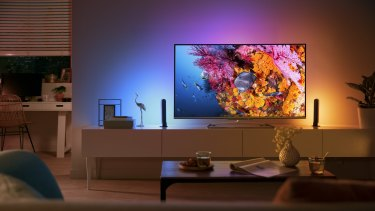 Philips Hue is made up of a pair of lights you point at the wall behind the TV.