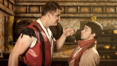Liam Jones as Gaston and Glenn Brighenti as his trusty sidekick Lefou.