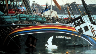The Rainbow Warrior after being bombed by French secret service agents.