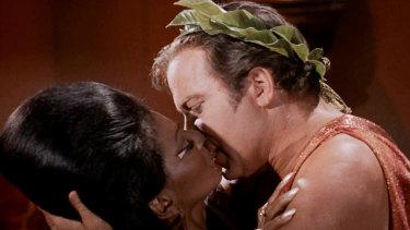 American television's first interracial kiss, between Star Trek's Captain Kirk and Lieutenant Uhura.