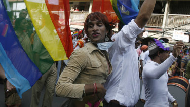 Indian gay rights supporters participate in a pride march in Mumbai.
