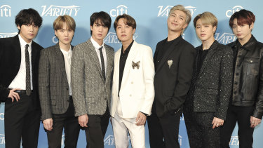 Korean pop band BTS. Member RM's (third from the right) comment on the Korean War hit a nerve with some in China.