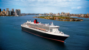 The Queen Mary 2 in New York Harbor.