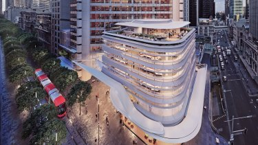 Artist impression of the new tower at 388 George Street, Sydney, owned byBrookfield Properties and Oxford Investa Property Partners