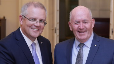 Governor-General Sir Peter Cosgrove (right) with Prime Minister Scott Morrison.
