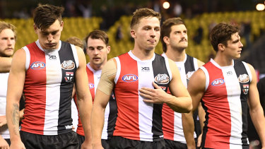 Jack Billings, centre, has weighed in on the possibility of coronavirus affecting St Kilda's match schedule.