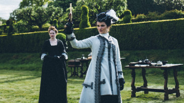 Emma Stone (left) and Rachel Weisz in The Favourite.