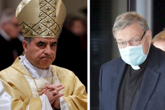 Former cardinal Giovanni Angelo Becciu, left, and Cardinal George Pell.