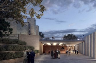 Artist impressions of the new entrance to the Australian War Memorial.