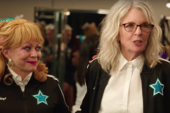 Jacki Weaver, 72 and Diane Keaton, 73, in a scene from Poms, about a team of mature-age cheerleaders.