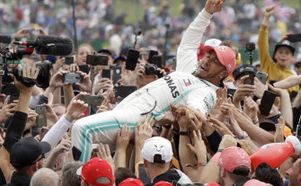 Mercedes driver Lewis Hamilton after winning the British Formula One Grand Prix at the Silverstone on Sunday.