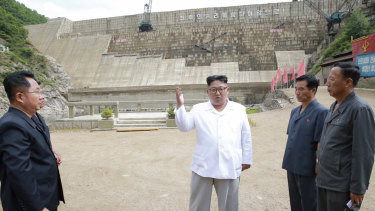 Kim Jong-un visits the construction site of a hydroelectric power plant in North Hamgyong Province, North Korea, last year.