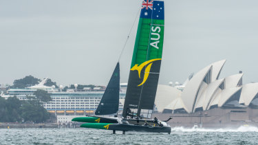 Speed demon: the Australian boat which will compete in the first leg of the inaugural Sail GP series in Sydney.