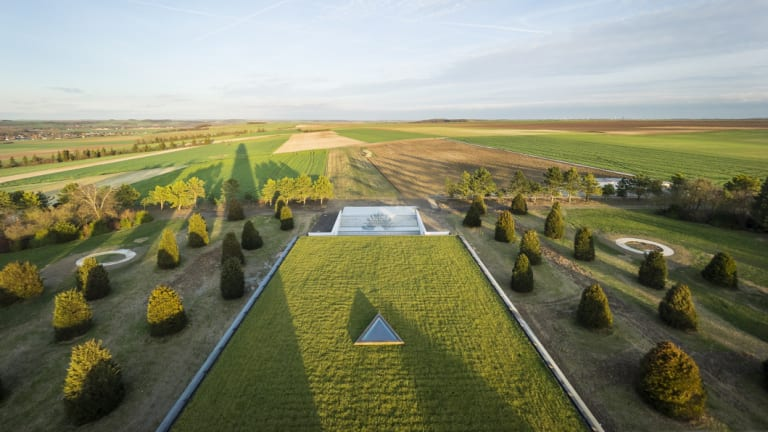 """The """"floating meadow'' roof of the Sir John Monash Centre in France. Cox Architecture designed the building."""