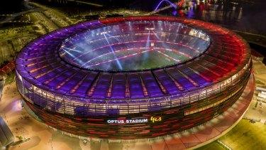 The stadium lit up at night.