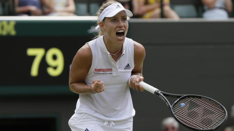 Angelique Kerber celebrates after reaching the women's final at Wimbledon.