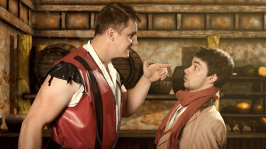 Liam Jones as Gaston and Glenn Brighenti as his trusty sidekick Lefou.