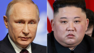Russian President Vladimir Putin, left, and North Korean leader Kim Jong-un.
