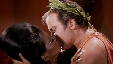 American television's first interracial kiss, between Star Trek's Captain Kirk and Lieutenant Uhura.
