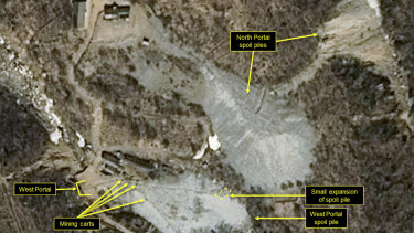 This satellite image released and notated by Airbus Defense & Space and 38 North shows the Punggye-ri nuclear test site on March 30.