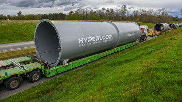 A hyperloop tube, through which Hyperloop Transportation Technologies says capsules carrying passengers or cargo could be propelled at up to 1223 kilometres an hour.