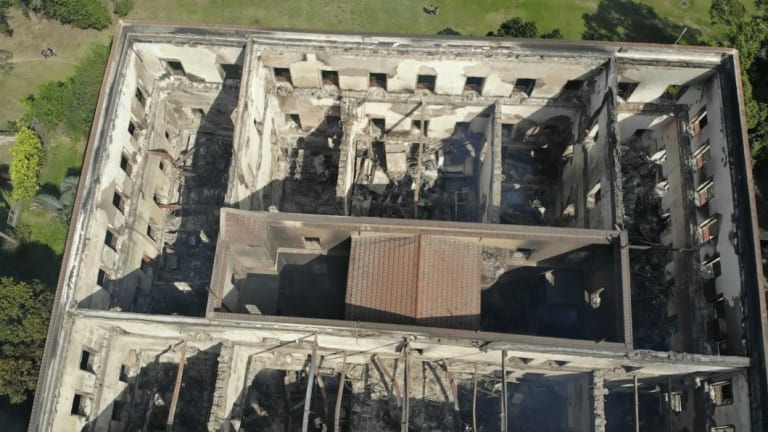Gutted: only the walls and some parts of the roof of the National Museum appeared to have survived. The floors can no longer be seen.