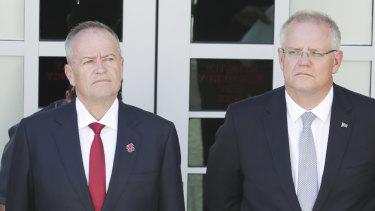 Opposition Leader Bill Shorten and Prime Minister Scott Morrison.
