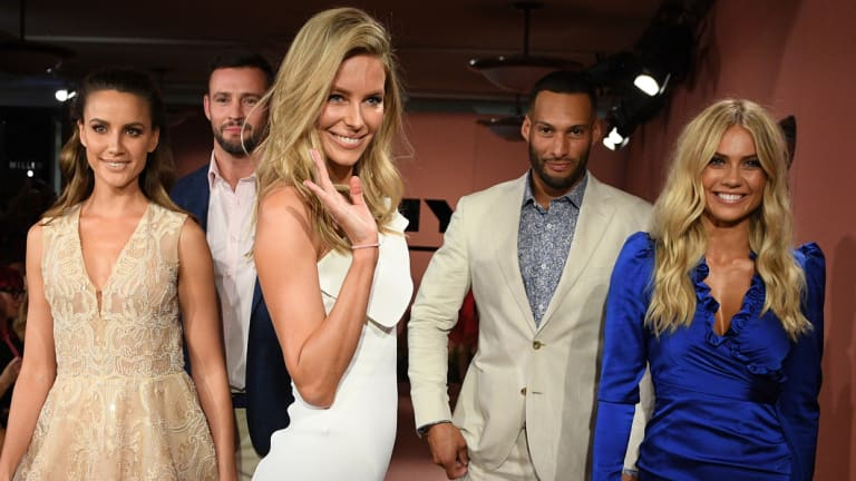 Bye! Jennifer Hawkin (centre) alongside (L-R) Rachael Finch, Kris Smith, Jennifer Hawkins, Josh Gibson and Elyse Knowles at Myer.
